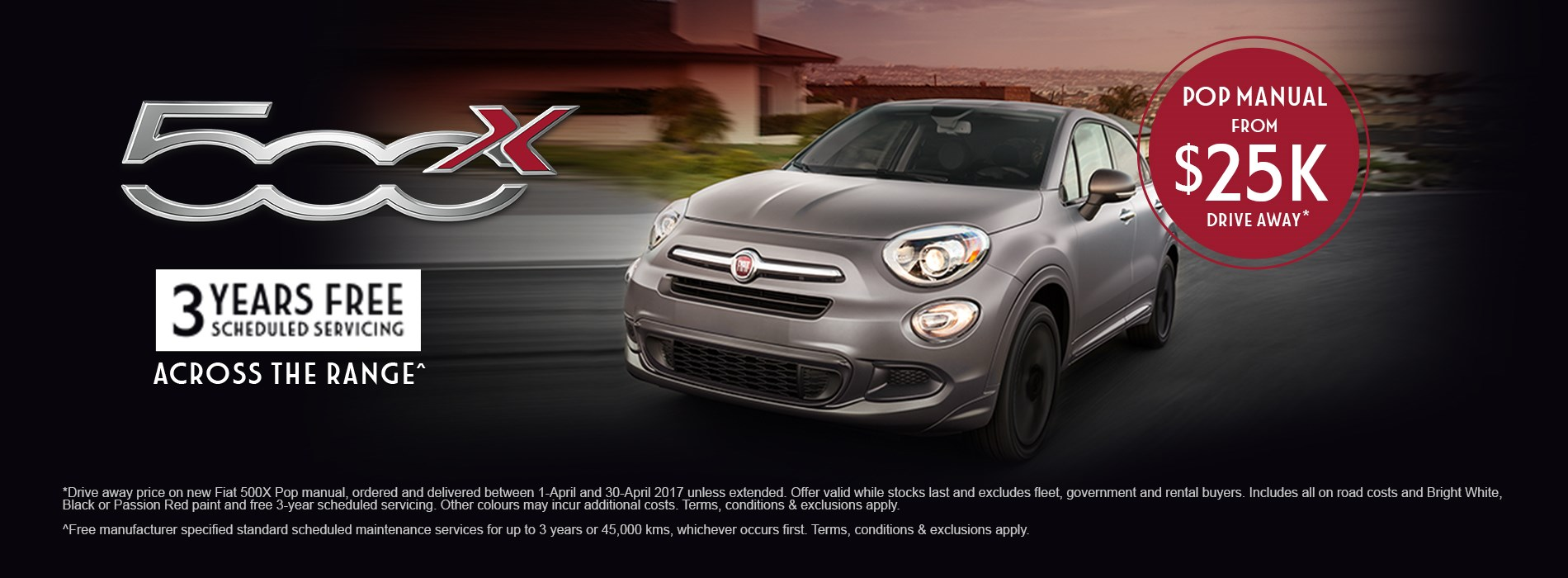 Fiat 500x pop manual $25k Drive Away Offer