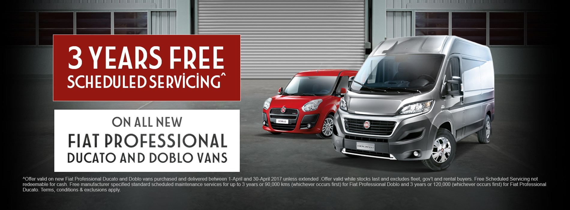 Fiat Professional Range 3 years free servicing offer