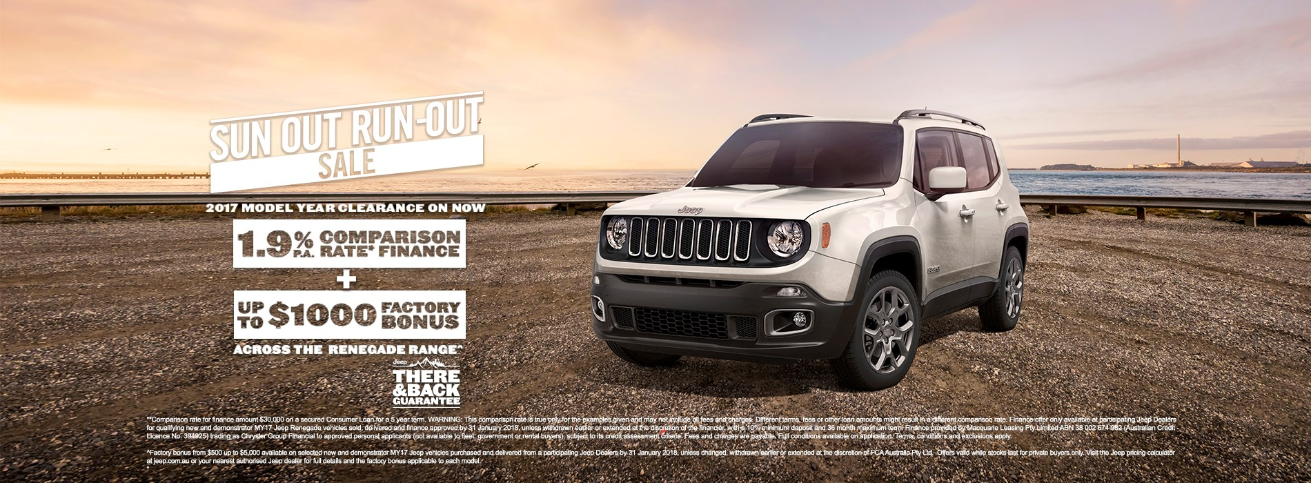 Jeep Renegade MY17 Run-out sale