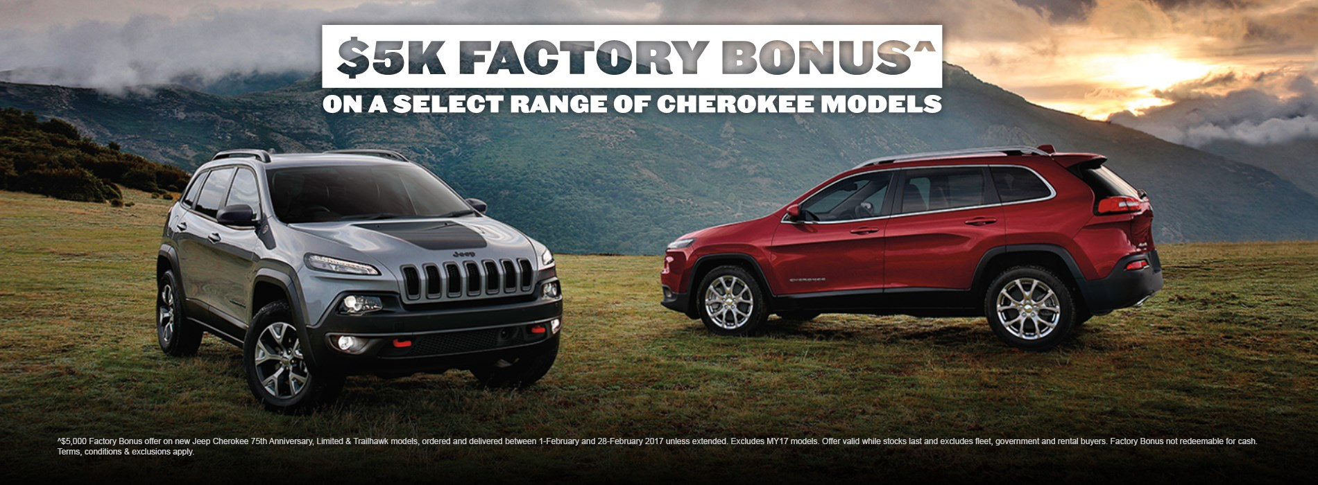 Jeep Cherokee $5K Factory Bonus Offer