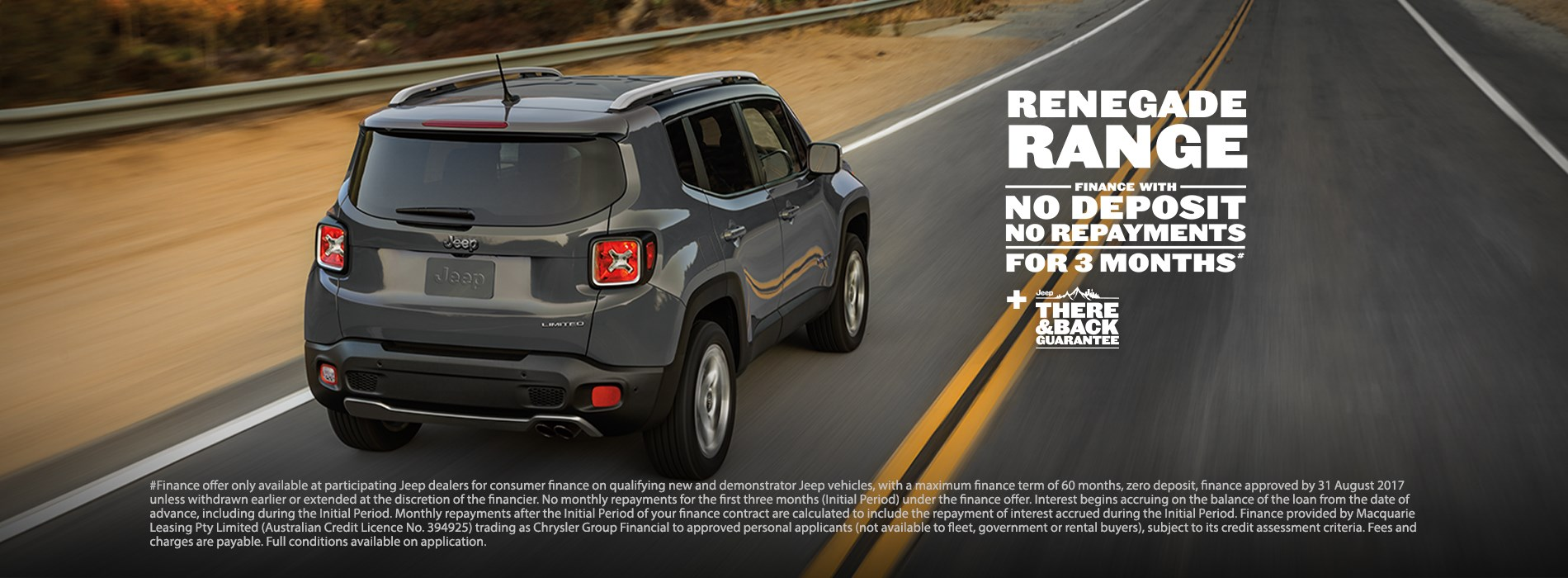Jeep Renegade Range No payments for 3 months offer