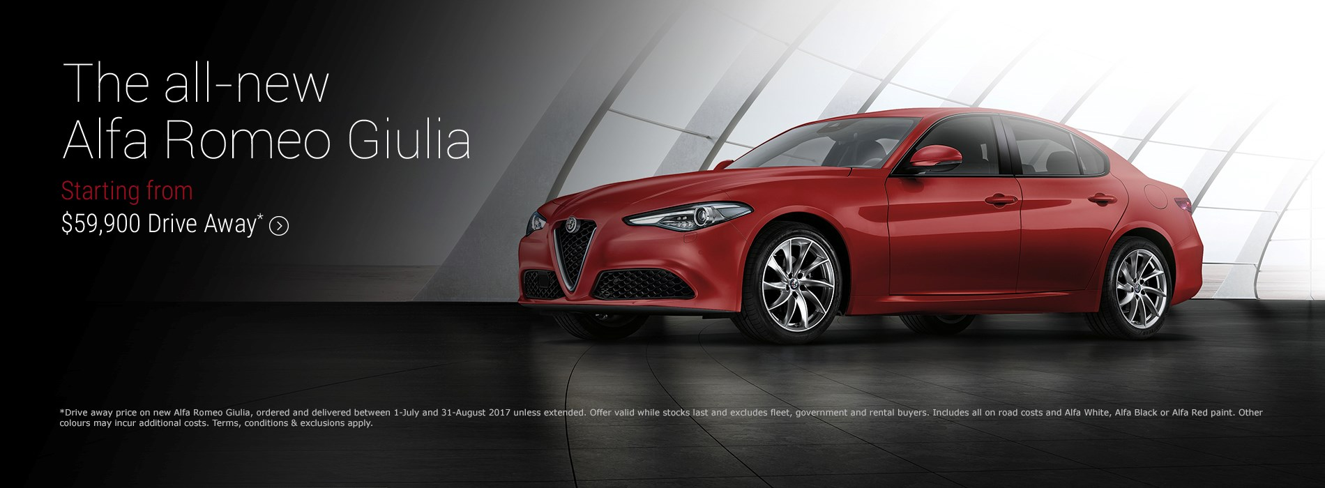 Alfa Romeo Giulia $59.9K Drive Away Offer