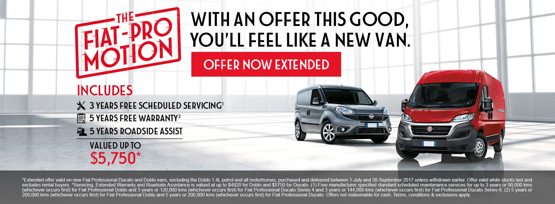 Fiat Professional 3 years free scheduled servicing offer