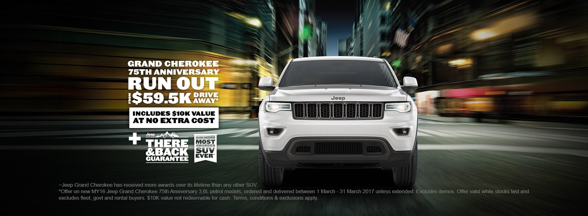 Jeep Grand Cherokee 75th Anniversary $59.5K Drive Away Offer