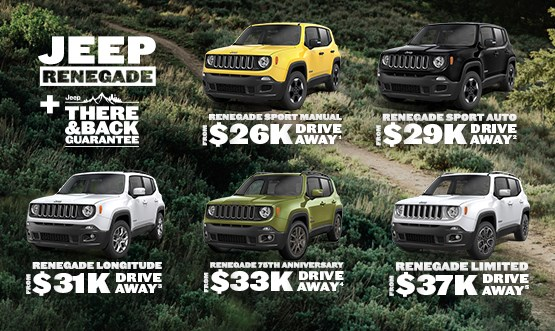 Jeep Renegade Range Drive Away Offers