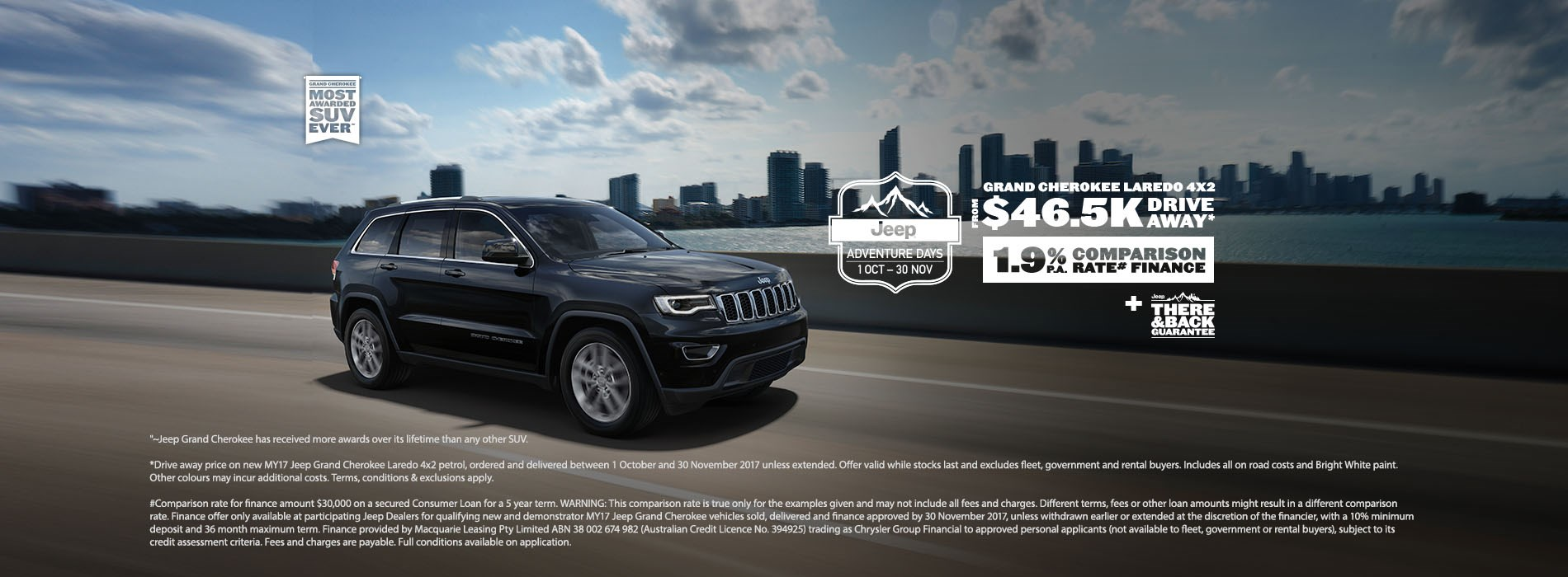 Jeep Grand Cherokee Laredo 4x2 $46.5K Drive Away Offer