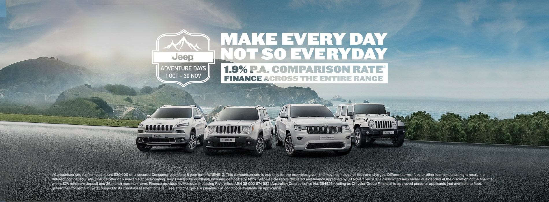 Jeep Adventure Days 1.9% P.A. Comparison Rate Finance Offer