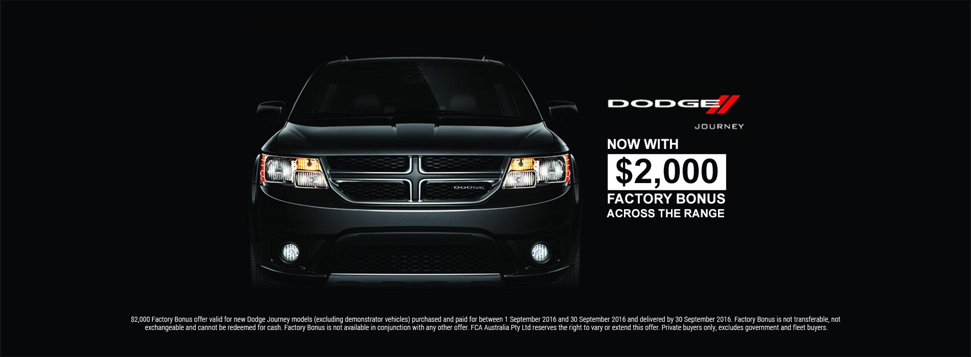 Dodge Journey Black exterior $2000 factory bonus offer