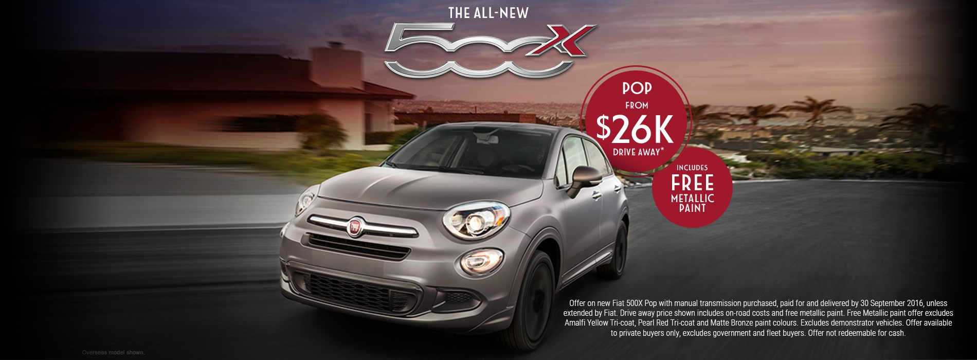 Fiat 500x Pop $26k Drive Away Offer